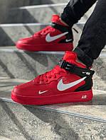Мужские кроссовки Nike Air Force 1 \ Найк Аир Форс Красные \ Чоловічі кросівки Найк Аір Форс Червоні