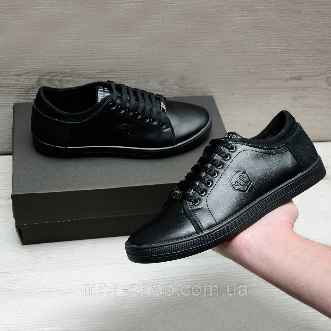 Мужская кожаная обувь на весну в стиле Philipp Plein