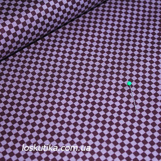 28003 Мелкая клетка (фиолетовый). Ткань для рукоделия, декора, пэчворка и шитья. Текстиль для дома.