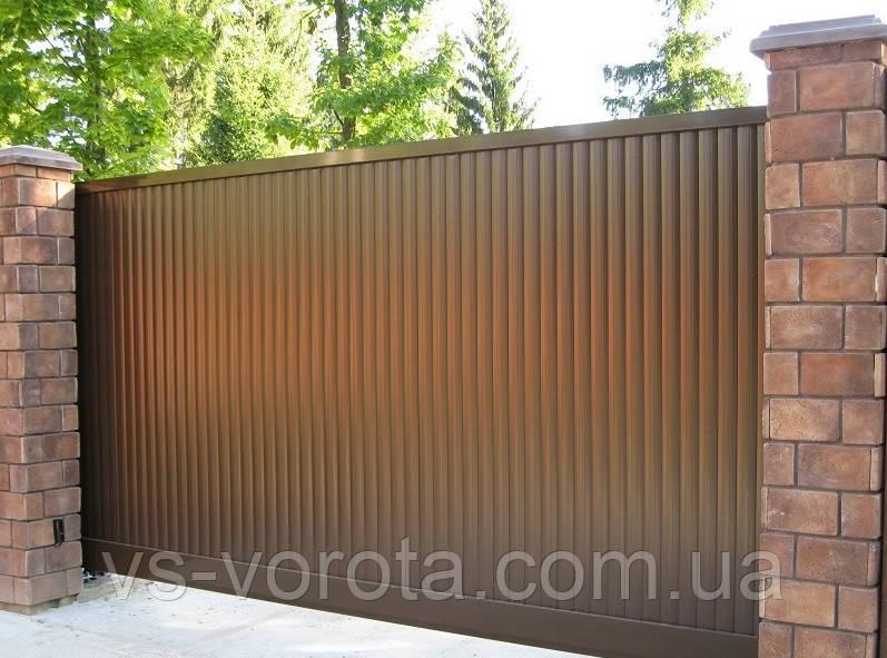 Раздвижные ворота автоматические из профнастила, размер 3000х2300 мм