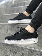 Мужские кроссовки Nike Air Force 1 \ Найк Аир Форс Черно-Белые \ Чоловічі кросівки Найк Аір Форс Чорно-Білі