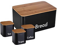 Набор хлебница и емкости для сыпучих Cover BAMBOO, фото 1