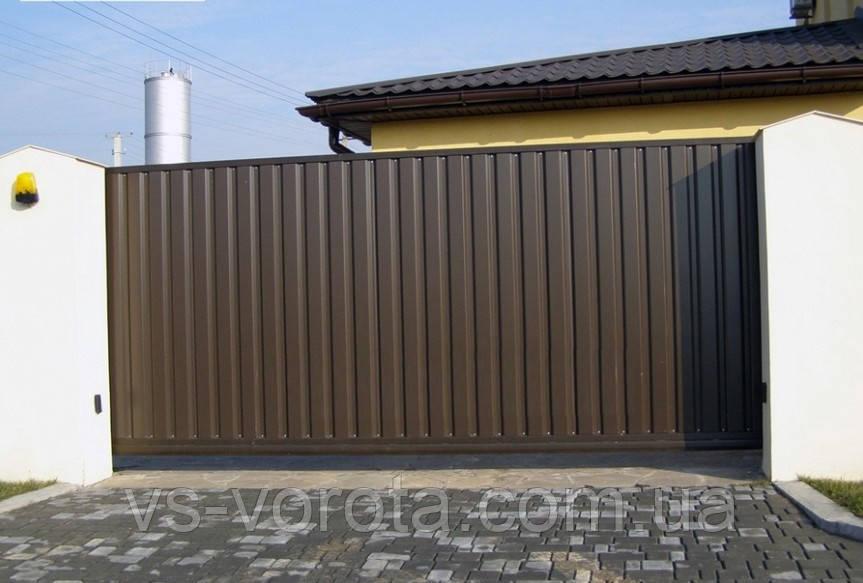 Откатные уличные ворота из профнастила размер 4000х2000 мм