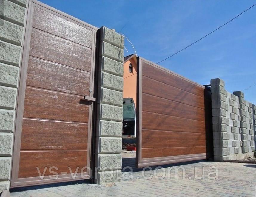 Ворота откатные под дерево из профнастила, размер 4500х2300 мм