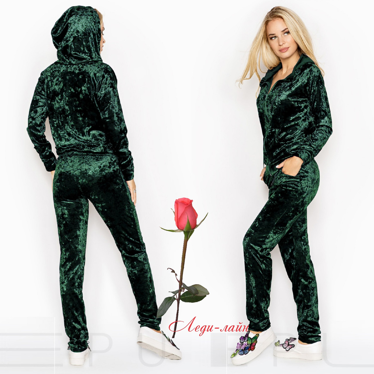 Женский спортивный костюм из мягкого бархата  GR 23643 в расцветках