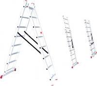 Лестница алюминиевая 2-х секционная универсальная раскладная 2*8 ступеней Intertool  LT-0208