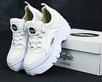 Кроссовки женские белые кожаные на платформе стильные Buffalo London Буффало Лондон