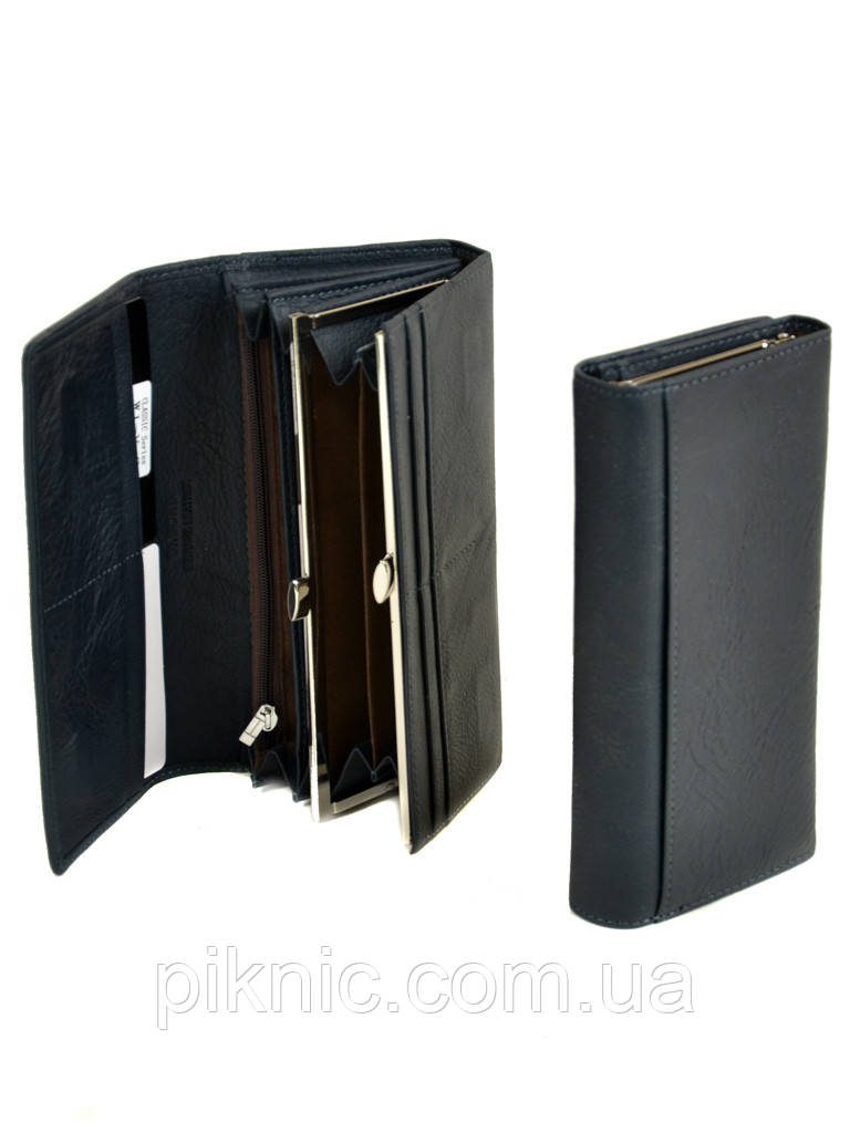 Женский кожаный кошелек, клатч, портмоне Dr Bond на магните. Натуральная кожа. Синий
