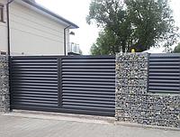 Ворота сдвижные из профнастила Жалюзи, размер 5000х2500 мм