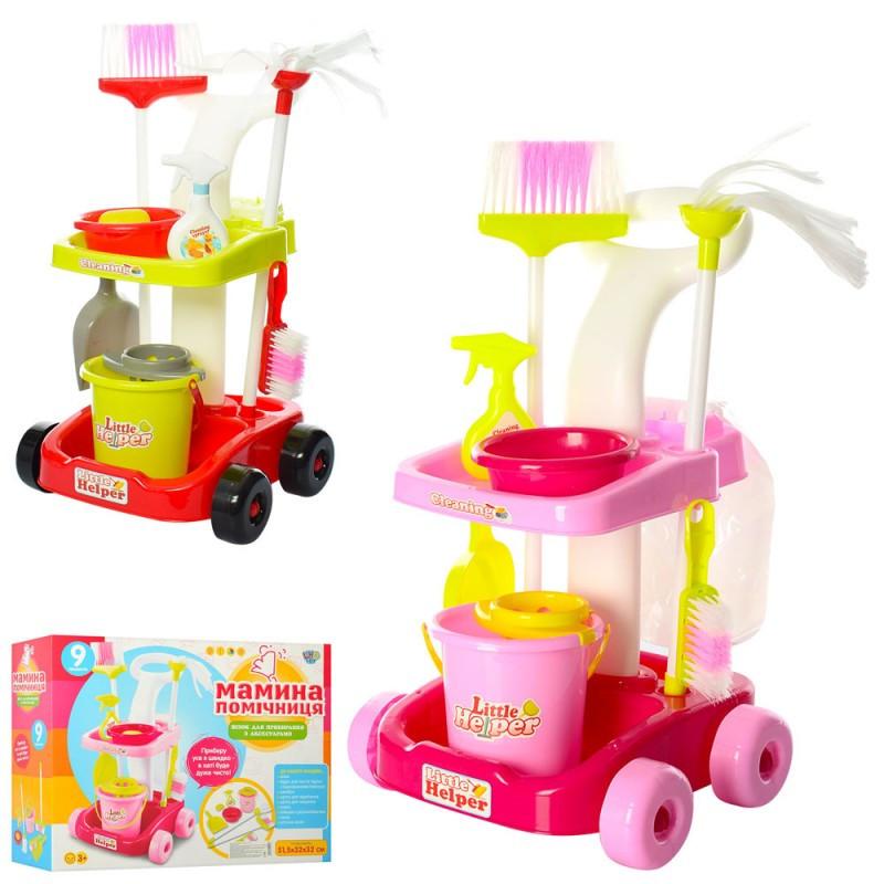 Детский Игровой набор для уборки - тележка, ведро, щетки, швабра, 667-33-35, в коробке 38-49-14,5 см
