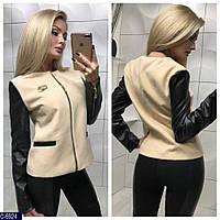636557013af Женское Короткое Кашемировое ПАЛЬТО-Пиджак с кожаным рукавом Код 007809