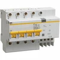 Дифференциальный автоматический выключатель АД14 4P 100мА 63А 4,5кА IEK