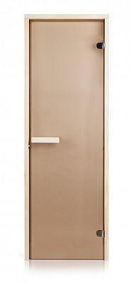 Стеклянная дверь для бани и сауны GREUS Magnet прозрачная бронза 80/200 липа