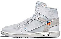"""Мужские кроссовки OFF-WHITE x Air Jordan 1 """"White"""" AQ0818-100 (Найк Аир Джордан Офф Вайт) в стиле белые"""