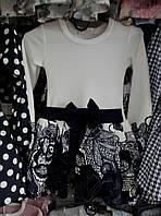 Платье для девочки на 3-6 лет с длинными рукавами синего с белым цвета с бантиком оптом