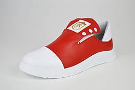 Слипоны бело-красные кожаные Evromoda 272