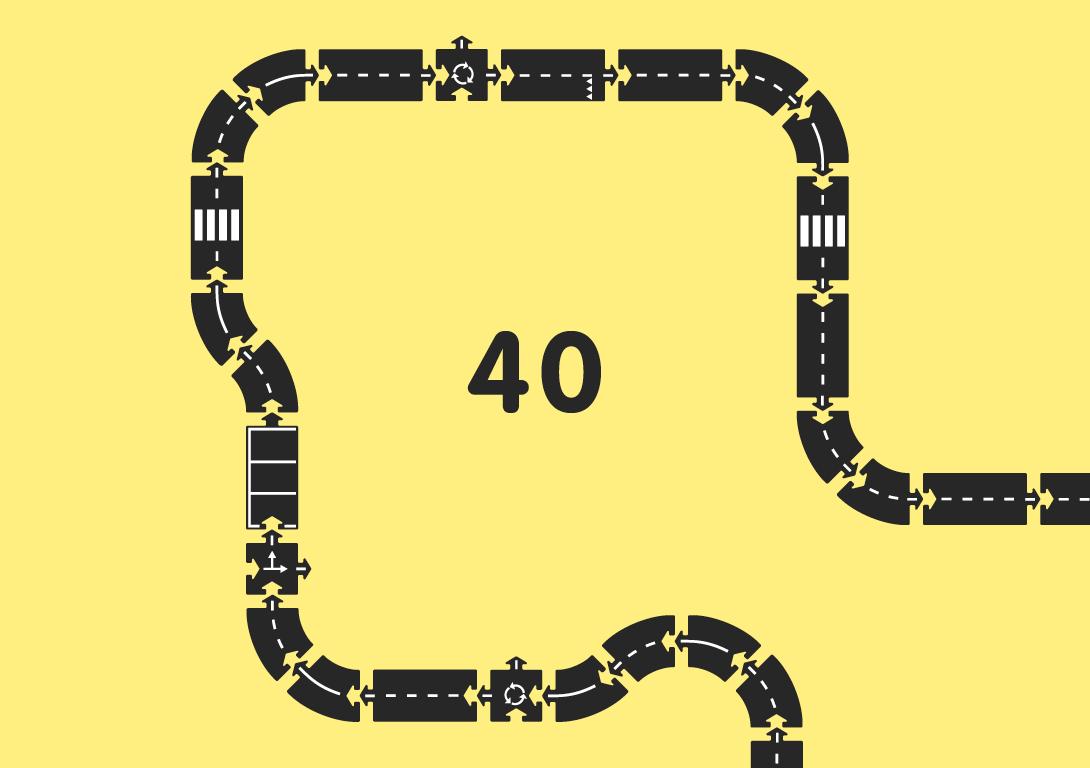 Гибкая автомобильная трасса Королевская дорога (40 дорожных частей, длина 648 см) WAYTOPLAY