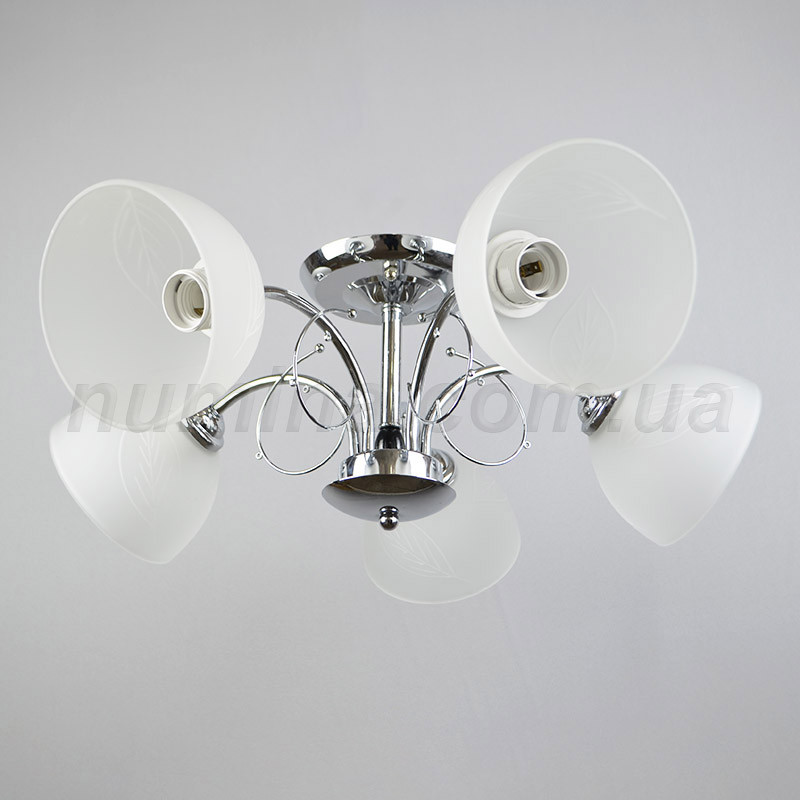 Люстра потолочная на пять лампочек. (хром) KT-Z065/5 CR+WT