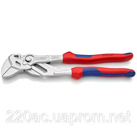 Клещи-гаечный ключ переставные с гладкими губками 250мм KNIPEX 86 05 250