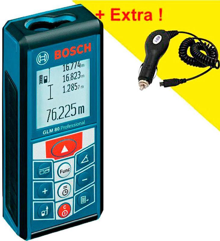 Лазерный дальномер Bosch GLM 80 + автомобильное ЗУ (06159940B3)