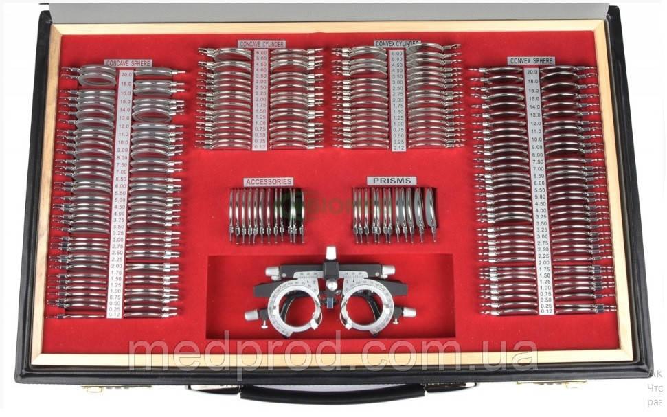 Набор офтальмологических пробных очковых линз на 232 линзы с универсальной металлической оправой