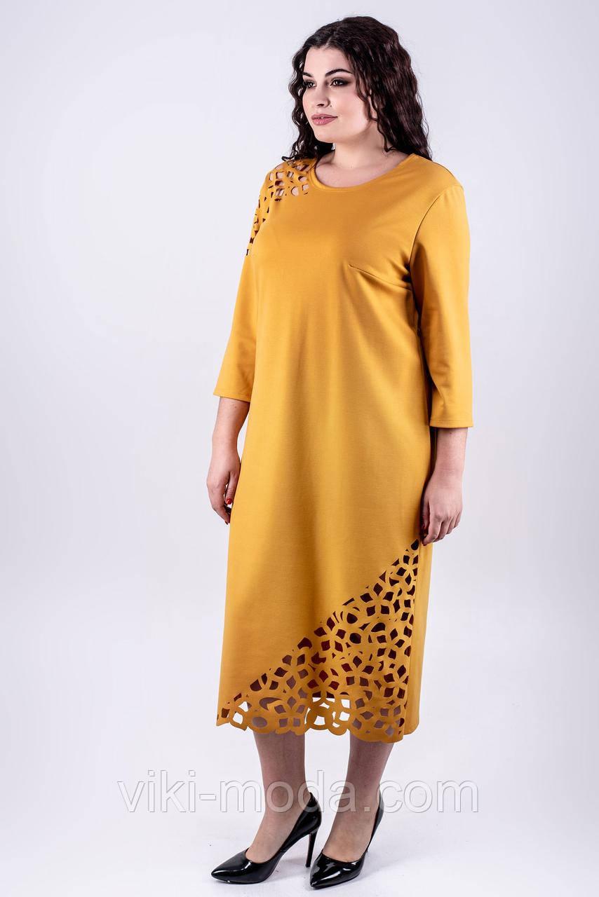 Шикарное платье большого размера Дорис с ажурным рисунком-перфорация