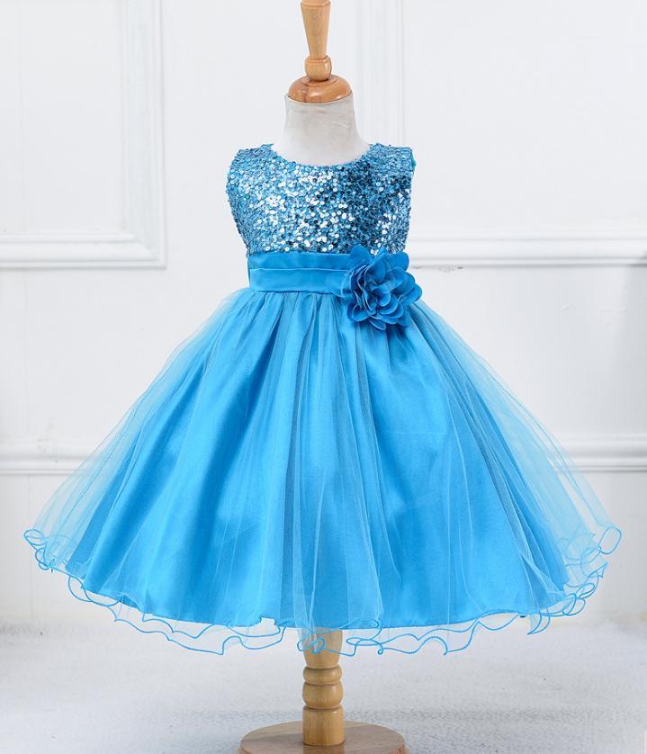 Платье голубое праздничное выпускное нарядное для девочки за колено.
