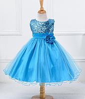 Платье голубое праздничное выпускное нарядное для девочки за колено., фото 1