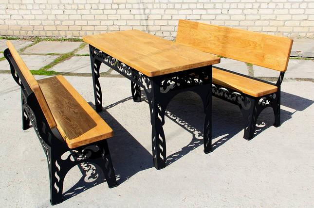 Набор садовой мебели (Стол, скамейки 150см) цвет черный, фото 2