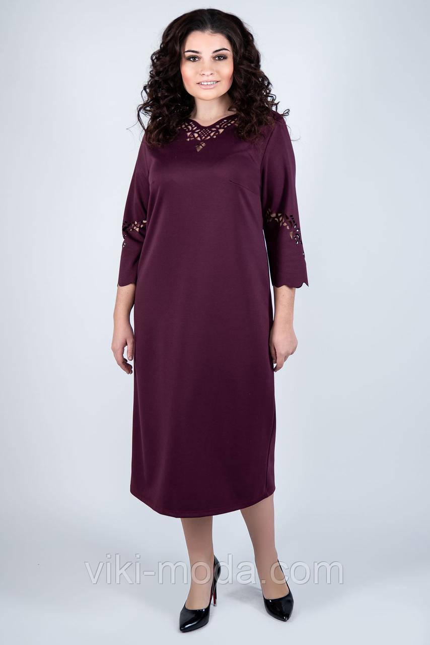Стильне плаття великого розміру Моллі, бордового кольору