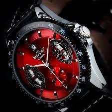 Мужские часы механические WINNER RED SKELETON с Автоподзаводом