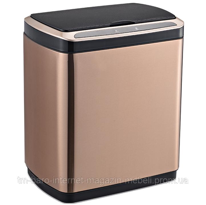 Сенсорное мусорное ведро JAH 20 л прямоугольное розовое золото с внутренним ведром