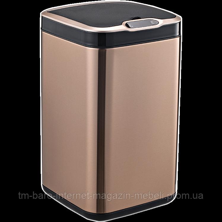 Сенсорное мусорное ведро JAH 13 л квадратное розовое золото с внутренним ведром