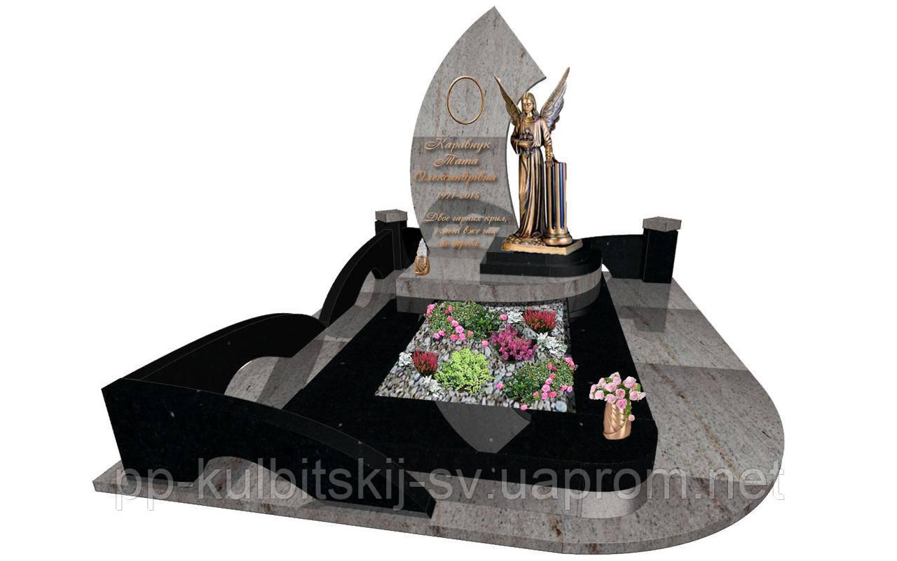 Ексклюзивний пам'ятник з огорожею  з білого граніту  S6077