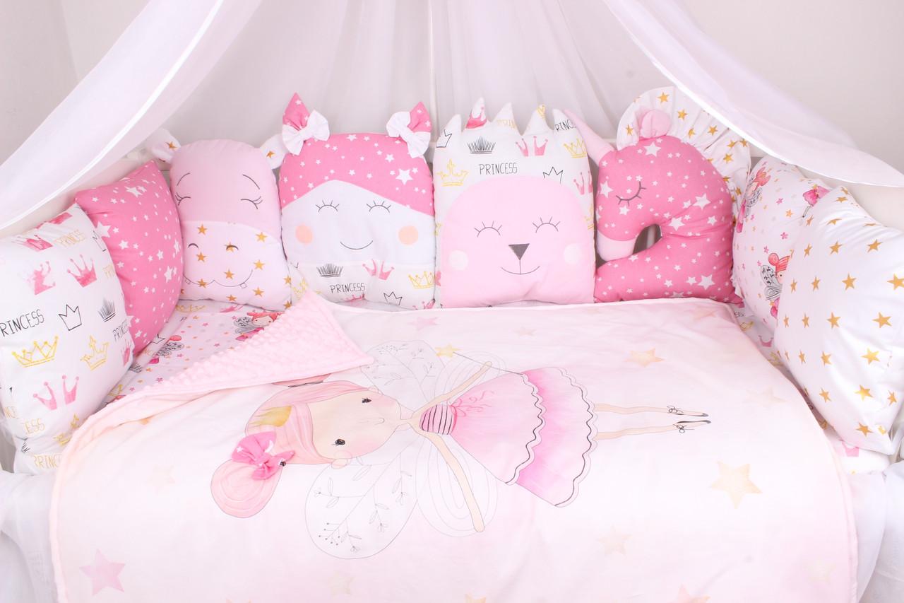 """Комплект в кроватку с игрушками """"Сказка принцессы"""""""