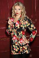 Стильный женский кардиган-пиджак на пуговицах с цветочным принтом
