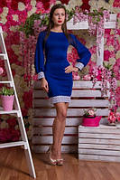 Платье трикотажное синего цвета 2074