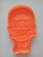 Вырубка для пряника пластиковая с оттиском Кукла ЛОЛ