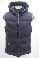 Стеганный мужской жилет безрукавка с капюшоном Большие размеры  48р, 50р, 52р, 54р, 56р  темно синий. черный