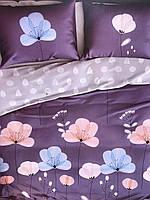 Постельное белье фланель евро фиолетовое с серым цветы