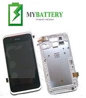 Дисплей (LCD) HTC 210 Desire Dual Sim с сенсором чёрный + рамка белая