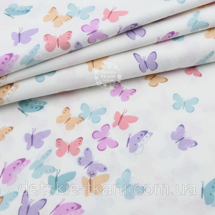 """Фланель """"Бабочки"""" сиреневые, бирюзовые, коралловые, бежевые, ширина 240 см"""