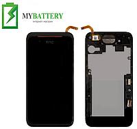 Дисплей (LCD) HTC 210 Desire Dual Sim с сенсором чёрный + рамка чёрная