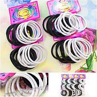 (144шт) Резиночки - жгутик, для волос (5 см, внешний диаметр) Цвет - Черно-белый МИКС