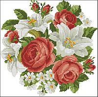 Набор для вышивки крестом Розы Старинная вышивка. Размер: 20,5*20,5 см