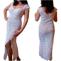 Вязаное платье из ленточного кружева ручной работы белого цвета