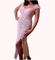 Вязаное платье из ленточного кружева ручной работы жемчужного цвета
