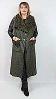 Женский длинный жилет на меху Турция, больших размеров 52-62