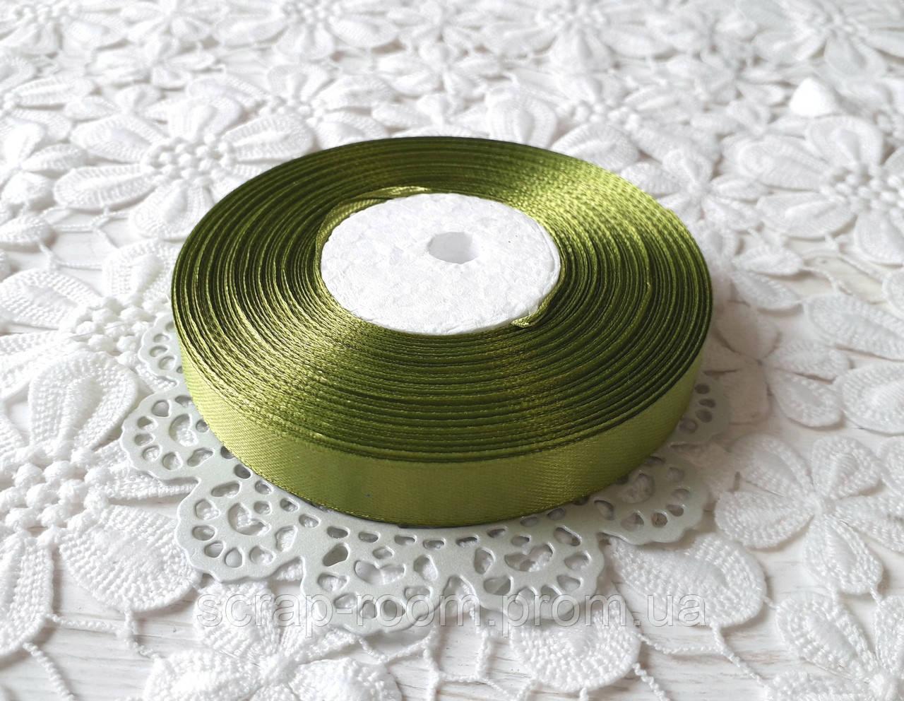 Лента атласная 1,2 см оливковая, лента оливковая атлас, лента атласная оливковая, цена за метр