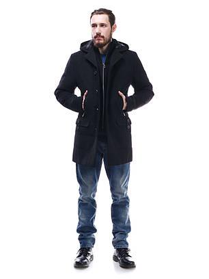 Пальто мужское из кашемира с капюшоном Ян черный
